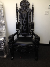 Gothing All Black King Throne Chairs 6 feet in Height- Great for weddings photo shoot video shoots and events