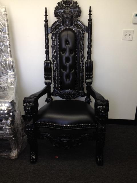 All Black King Throne Chair 6 Tall