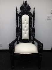 Black and White King Throne Chair