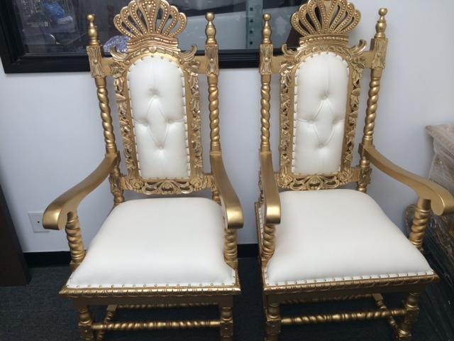 Gold set of Queen Chairs & princess throne chair rental sale u2013 King u0026Queen Throne Chairs 818 ...