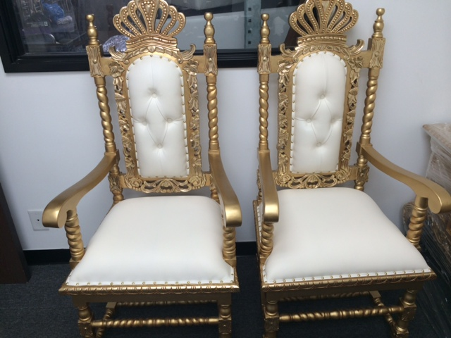 Gold Set Of Queen Chairs