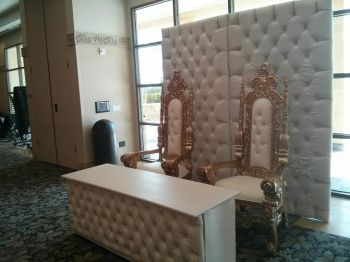 "30""x60"" White Leather Head Table With marching Backdrop"