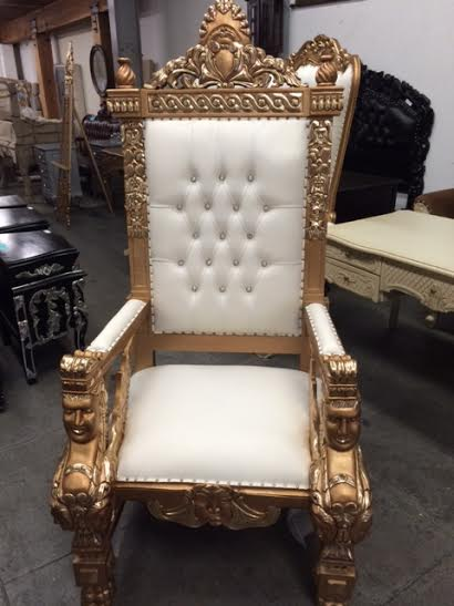 Large Gold Throne King Chair Bride And Groom Chair For Head Table  818 636 4104