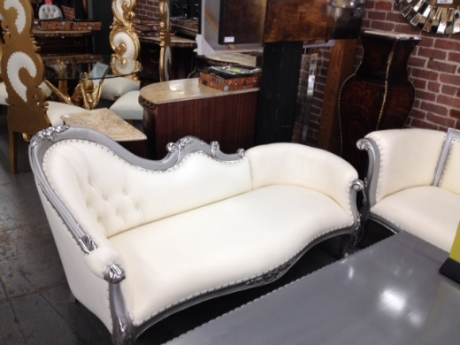 silver chaise