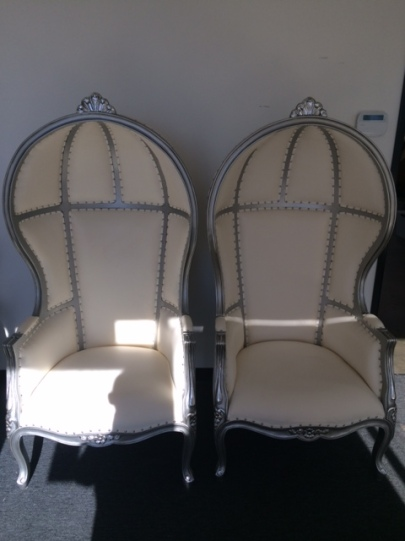 Silver Canopy Style Throne Chairs