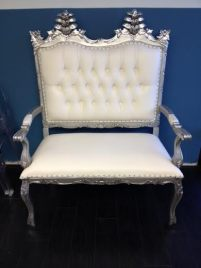 SILVER FRAME FRENCH INSPIRED LOVE SEAT