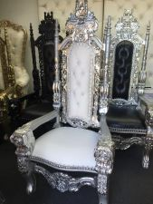 Silver and white King Throne achair