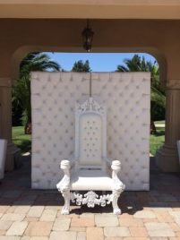 White Leather King Throne Chair Los Angeles