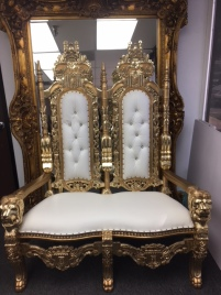 Double King Throne Chair Gold and White