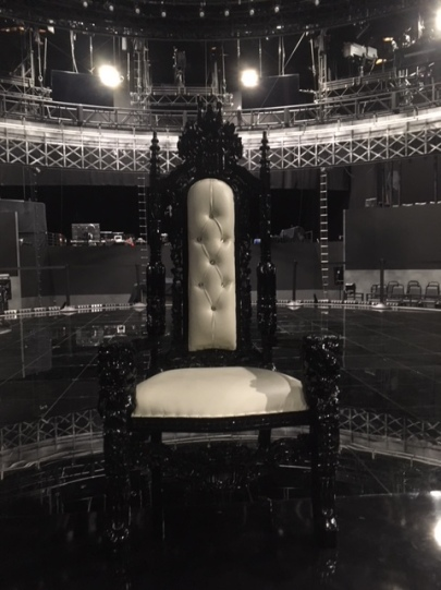 Black throne chair white seat prop rental music video Los Angeles Studios