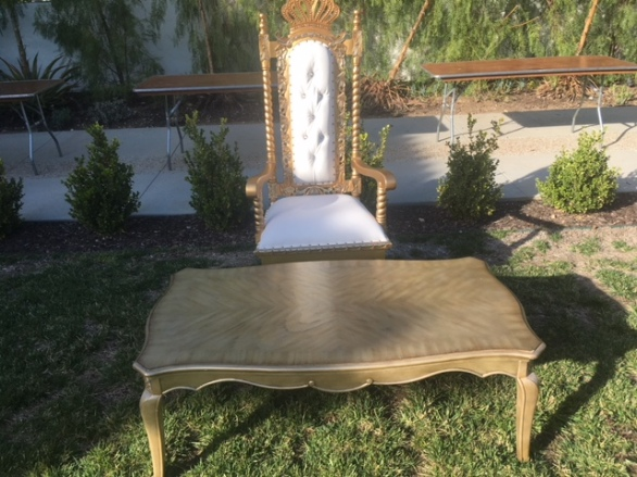 Queen chairs with gold table