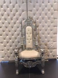 Silver on White King Throne Chair