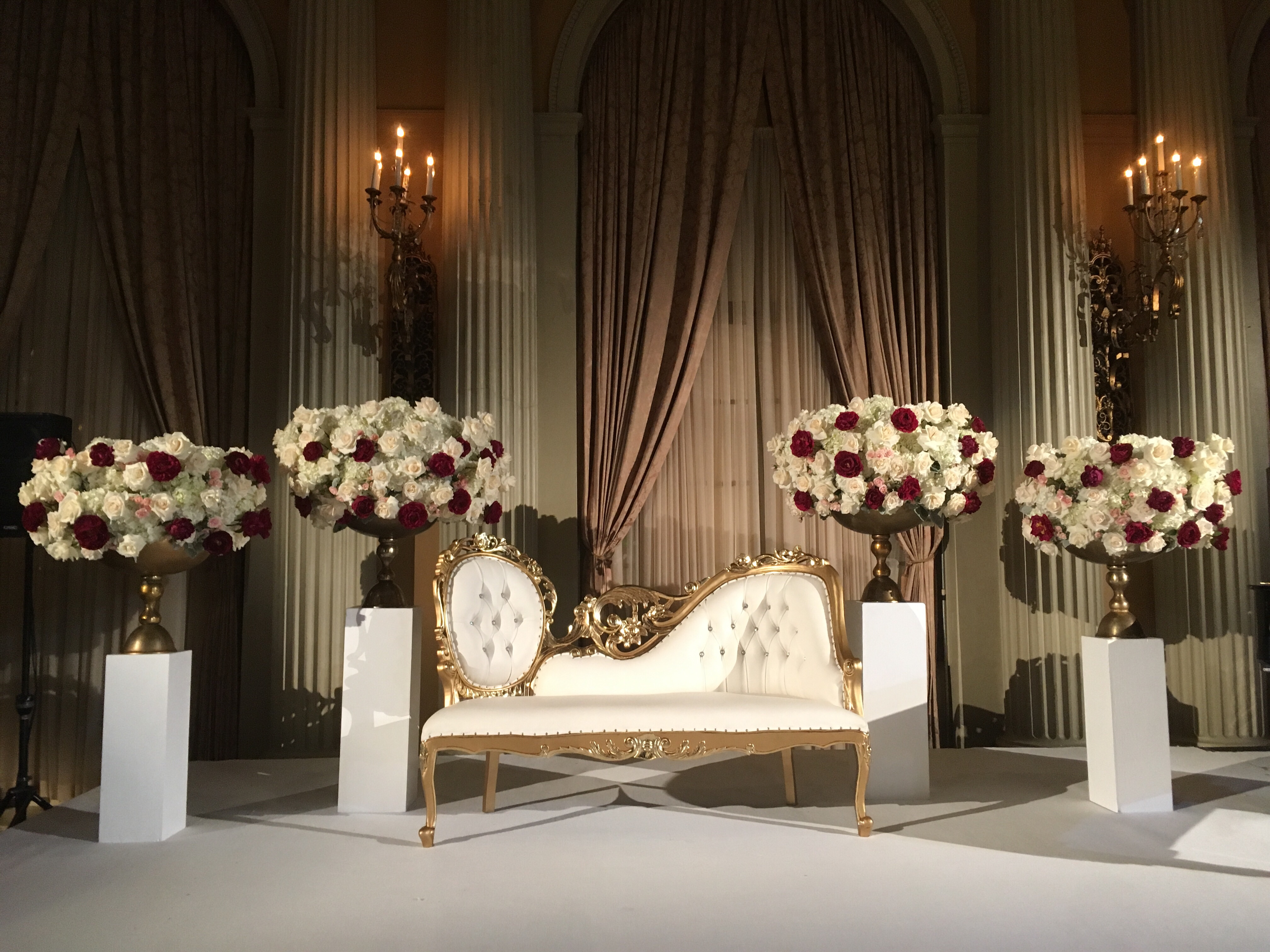 Gold Chaise Couch Indian Wedding Biltmore Los Angeles