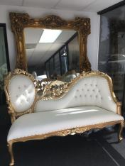 Gold chaise couch